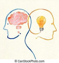 testa, astratto, acquarello, idea, umano, pittura, ispirazione