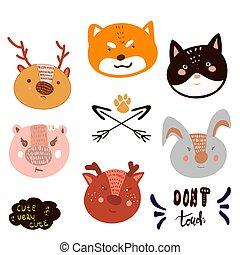 testa, bambini, cutest, scarabocchiare, stile, illustrazione, vettore, animale