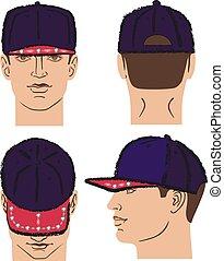testa, berretto, tennis, baseball, rap, uomo