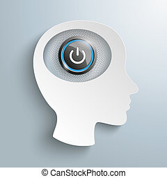 testa, bottone potere, cervello, carta, bianco