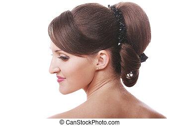 testa, brunetta, spalle