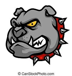 testa, bulldog, stile, illustrazione, cartone animato, mascotte