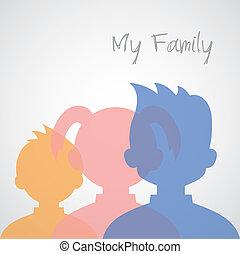 testa, cartone animato, famiglia, icone