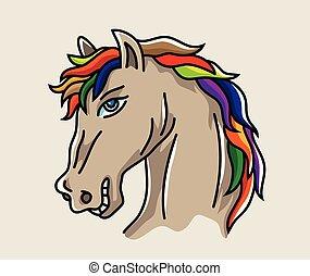 testa, cavallo, cartone animato