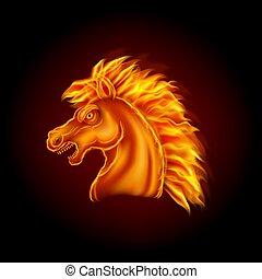 testa, cavallo, fuoco, fondo, isolato, nero