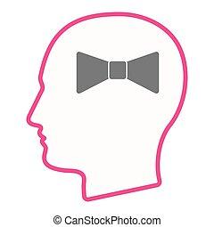 testa, collo, isolato, cravatta, maschio, icona