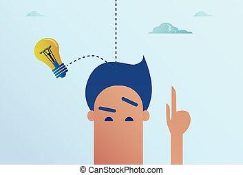 testa, concetto, affari, luce, idea, bulbo, nuovo, cadere, uomo