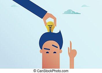 testa, concetto, affari, luce, idea, mano, bulbo, mettere, uomo nuovo