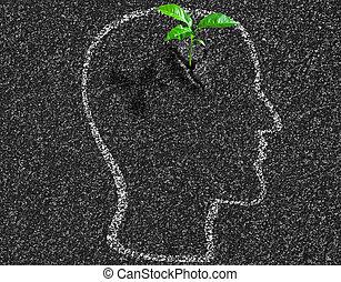 testa, concetto, asfalto, dentro, giovane, idea, crescita, umano, contorno