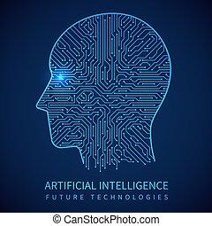 testa, concetto, circuito, intelligenza, cyborg, interno., artificiale, vettore, asse, umano, digitale