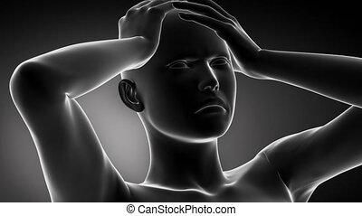 testa, concetto, dolore, emicrania,  pian, pulsante