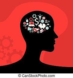 testa, concetto, icone affari, profilo, ingranaggi, cervello, infographics