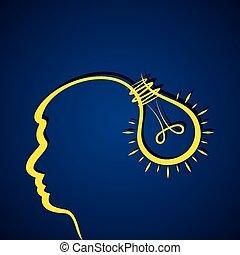 testa, concetto, idea, affari