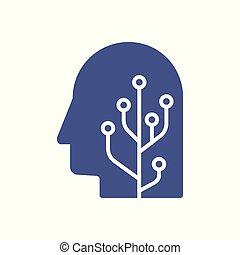 testa, concetto, illustration., intelligenza, mente, robot, artificiale, cervello, umano