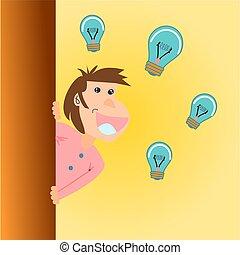 testa, concetto, luce, sopra, idea, bright., bulbo, uomo