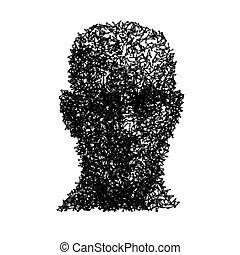 testa, concetto, wireframe, faccia, vettore, umano, tecnologia
