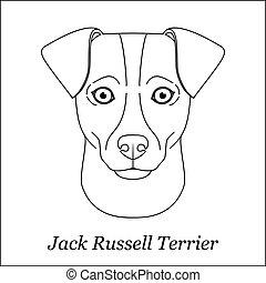 testa, contorno, razza, linea, isolato, cane, fondo., cricco nero, portrait., bianco, terrier, cartone animato, russell