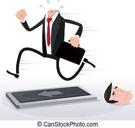 testa, correndo, uomo affari, cartone animato, routine