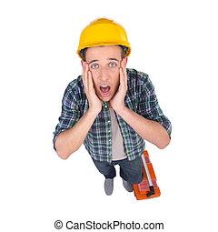 testa, craftsperson, cima, handyman., isolato, dall'aspetto, mentre, macchina fotografica, tenere mani, bianco, frustrato, vista