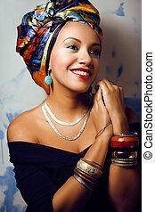 testa, cubian, scialle, come, donna, creativo, luminoso, ...