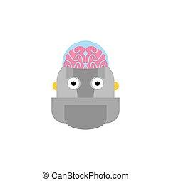 testa, cyborg, intelligence., robot, artificiale, brain.