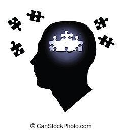 testa, dentro, silhouette, puzzle, isolato, pezzi, fondo., ...