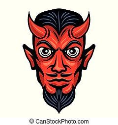 testa, diavolo, colorato, illustrazione, corna
