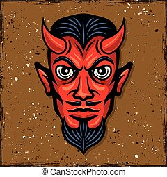 testa, diavolo, illustrazione, vettore, corna, rosso