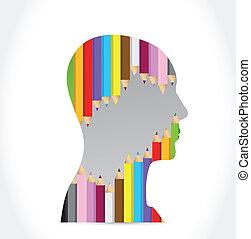 testa, disegno, colors., illustrazione