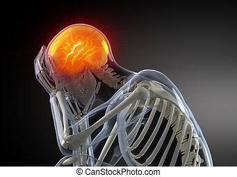 testa, dolore, concetto