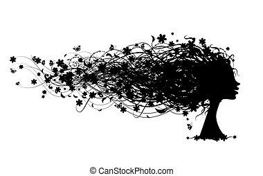 testa, donna, acconciatura, disegno, floreale, tuo