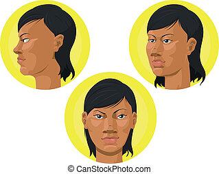 testa, donna, -, americano, africano