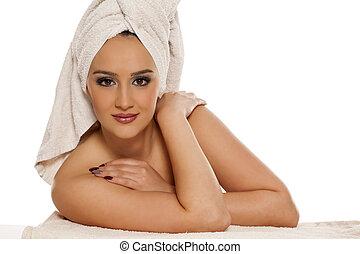testa, donna, asciugamano, lei