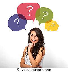 testa, donna, fondo, colorito, pensare, molti, domande, sorridente, casuale, sopra, bianco, bolle