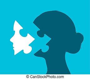 testa, donna, mancante, puzzle, giovane, pezzo