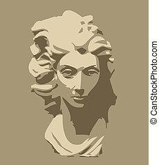 testa, donna, scultura, marmo