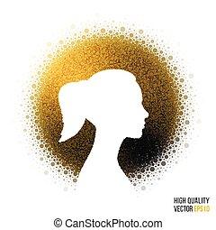 testa, donna, silhouette, augurio, disegno, femmina, scheda, sagoma