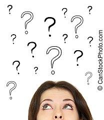 testa, donna, sopra, domanda, su, isolato, dall'aspetto, fondo, contrassegni, bianco