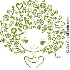 testa, ecologia, concetto, disegno, femmina, tuo