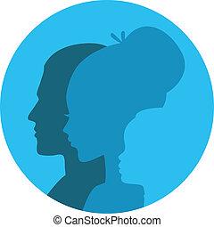 testa, famiglia, icone
