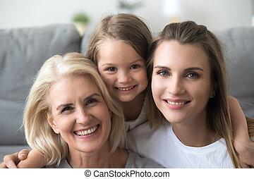 testa, figlia, nonna, madre, ritratto, sorridente, colpo