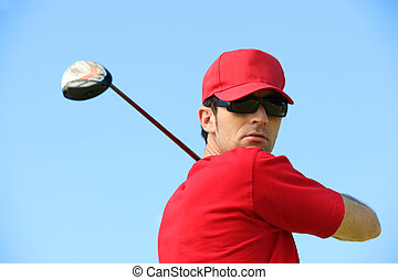 testa, golfista, spalle.
