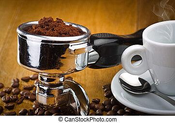 testa, gruppo, espresso, macchina caffè, italiano