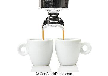 testa, gruppo, tazza, espresso, due, macchina