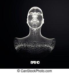 testa, ia, intelligenza, concept., wireframe, robot, artificiale, computer, brain., umano, digitale, interpretation.