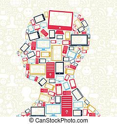 testa, icone, media, aggeggi, sociale, uomo