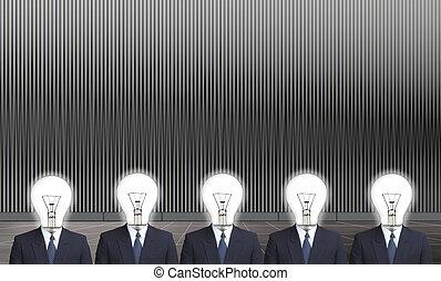 testa, idea, lampada, possedere, uomo affari, prendere
