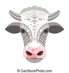 testa, illustrazione, mucca