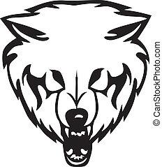 testa, illustrazione, wolf., vettore