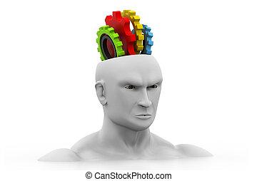 testa, ingranaggi, umano